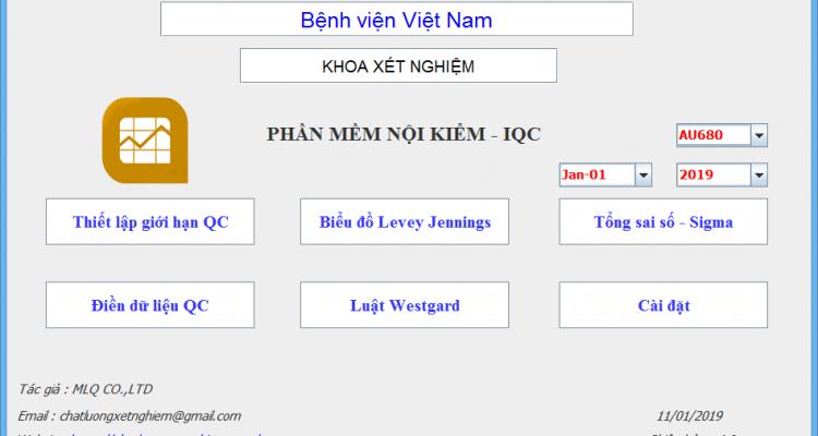 Phần mềm nội kiểm chất lượng xét nghiệm – IQC Phiên bản 4.0